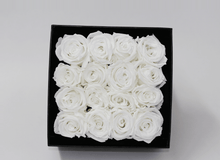 16 STUNNING WHITE CREAM INFINITY ROSES, BEAUTIFULLY PRESENTED IN A BLACK BOX