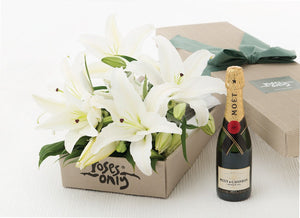 10 WHITE LILIES + MOET & CHANDON BRUT IMPERIAL 375ML GIFT BOX