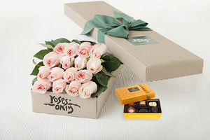 16 Pastel Pink Roses Gift Box &  Chocolates
