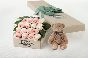 16 Pastel Pink Roses Gift Box & Teddy Bear