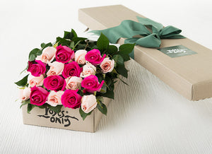 18 Mixed Pastel Pink & Bright Pink Roses Gift Box