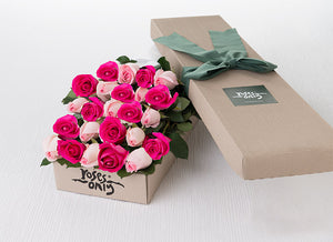 24 Mixed Pastel Pink & Bright Pink Roses Gift Box