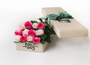 Mixed Pastel Pink and Bright Pink Roses Gift Box 12