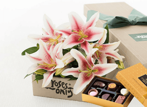 Mother's Day 12 PINK LILIES GIFT BOX & Godiva Chocolates (6 PCs)
