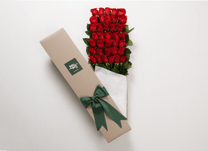 36 Red Valentines Roses + FREE Teddy