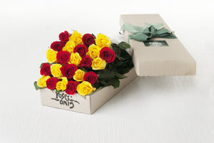 24 MIXED RED & YELLOW ROSES GIFT BOX