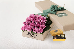 16 Mauve Roses Gift Box & Chocolates