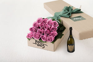 16 Mauve Roses Gift Box & Champagne