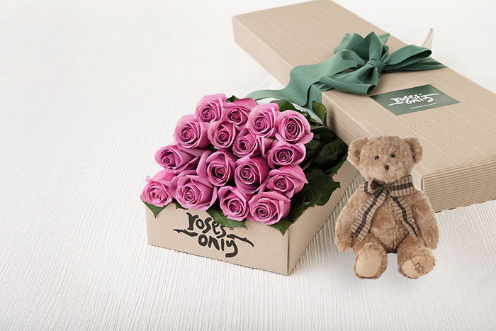 16 Mauve Roses Gift Box & Teddy Bear