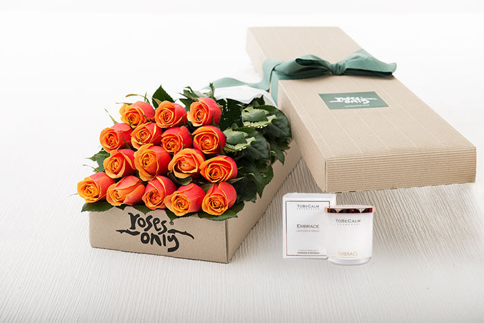 16 Cherry Brandy Roses Gift Box & Scented Candle