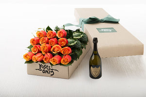 16 Cherry Brandy Roses Gift Box & Champagne