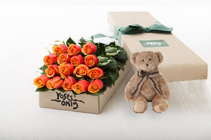 16 Cherry Brandy Roses Gift Box & Teddy Bear