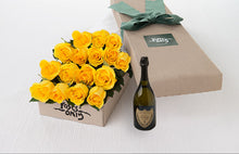16 Yellow Roses Gift Box & Champagne