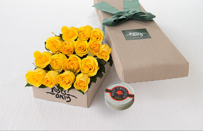 16 Yellow Roses Gift Box & Letao Petit Chocolates