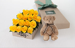 16 Yellow Roses Gift Box & Teddy Bear