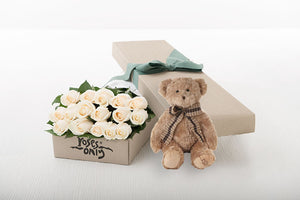 16 White Cream Roses Gift Box & Teddy Bear