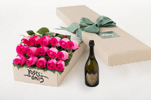 16 Bright Pink Roses Gift Box & Champagne