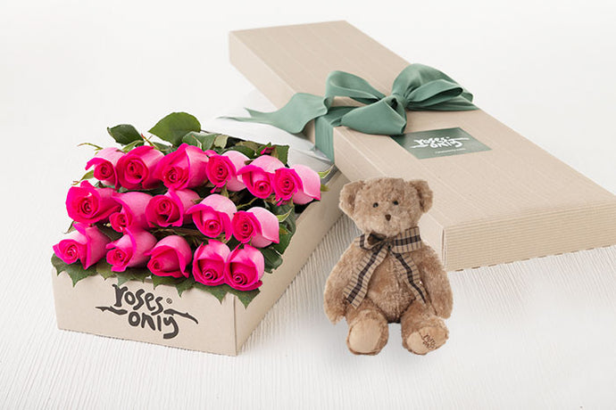 16 Bright Pink Roses Gift Box & Teddy Bear
