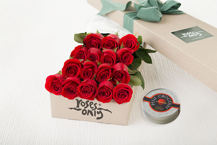 16 Red Roses Gift Box & Letao Petit Chocolates