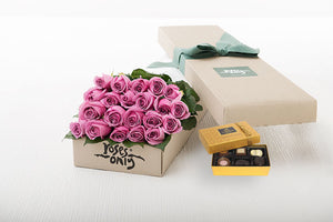 21 Mauve Roses Gift Box & Chocolates