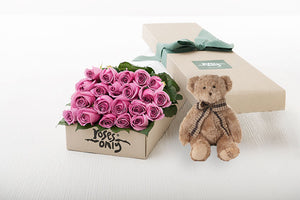 21 Mauve Roses Gift Box & Teddy Bear