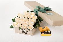 21 White Cream Roses Gift Box & Chocolates
