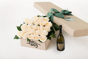 21 White Cream Roses Gift Box & Champagne