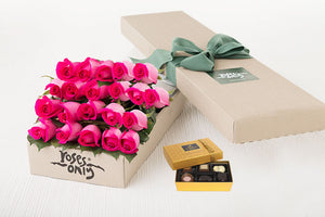 Bright Pink Roses Gift Box 21 & Chocolates