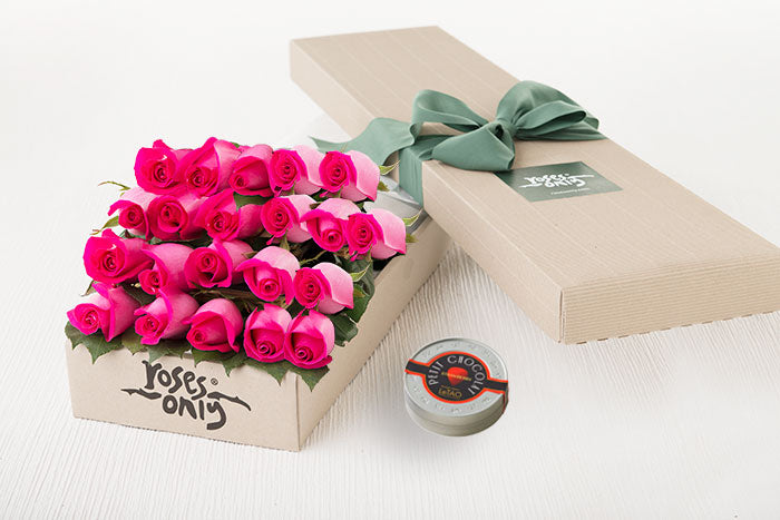21 Bright Pink Roses Gift Box & Letao Petit Chocolates