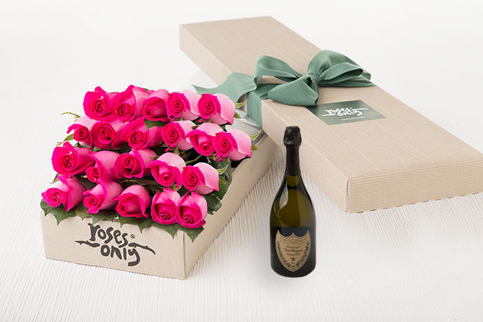 Bright Pink Roses Gift Box 21 & Champagne