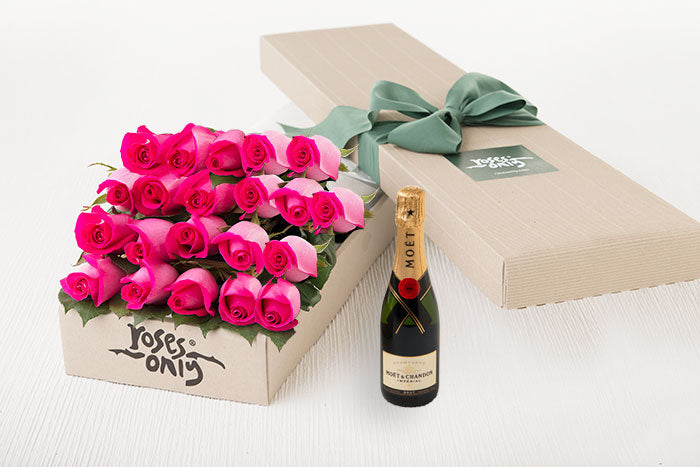 21 Bright Pink Roses Gift Box & Champagne