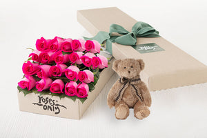 21 Bright Pink Roses Gift Box & Teddy Bear