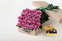 25 Mauve Roses Gift Box & Chocolates