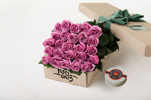 Mauve Roses Gift Box 25 & Chocolates