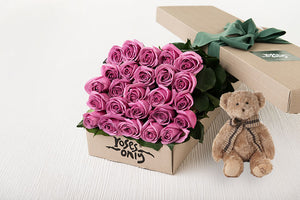 25 Mauve Roses Gift Box & Teddy Bear
