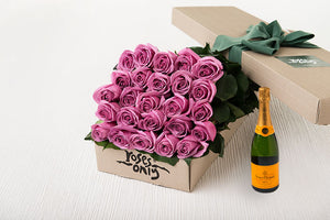 25 Mauve Roses Gift Box & Champagne