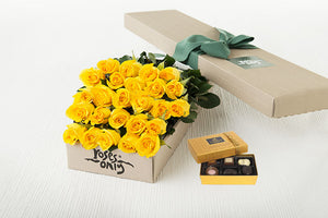 25 Yellow Roses Gift Box & Chocolates
