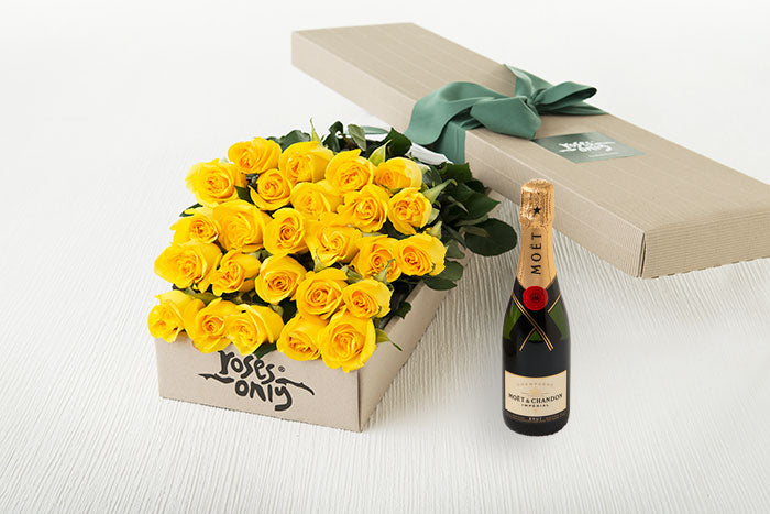25 Yellow Roses Gift Box & Champagne
