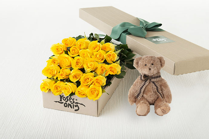 25 Yellow Roses Gift Box & Teddy Bear
