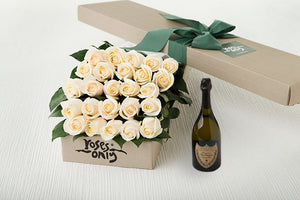 25 White Cream Roses Gift Box & Champagne