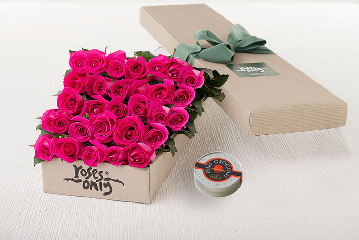 25 Bright Pink Roses Gift Box & Letao Petit Chocolates