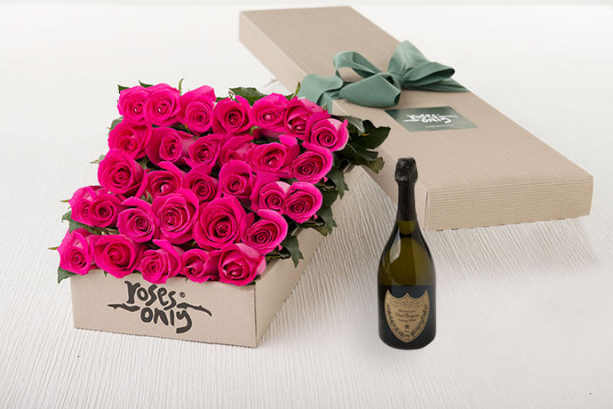 Bright Pink Roses Gift Box 25 & Champagne