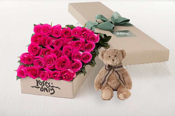 25 Bright Pink Roses Gift Box & Teddy Bear