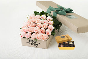 25 Pastel Pink Roses Gift Box & Chocolates