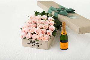 25 Pastel Pink Roses Gift Box & Champagne