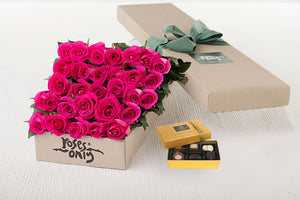 25 Bright Pink Roses Gift Box & Chocolates