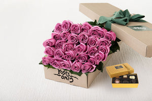 30 Mauve Roses Gift Box & Chocolates