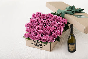 30 Mauve Roses Gift Box & Champagne
