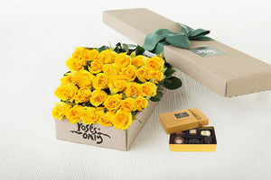 Yellow Roses Gift Box 30 & Chocolates