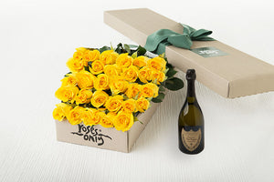 30 Yellow Roses Gift Box & Champagne